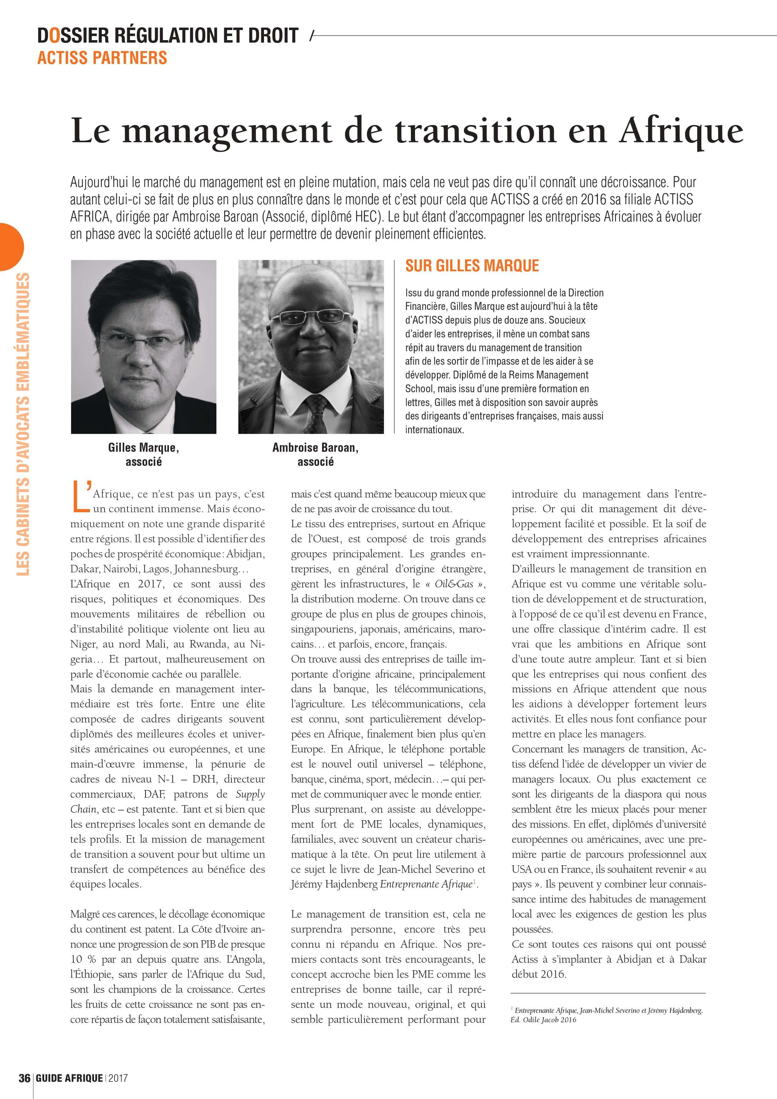 article decideurs magazine ACTISS